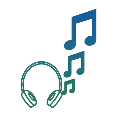 headphones music notes audio image vector illustration degraded color