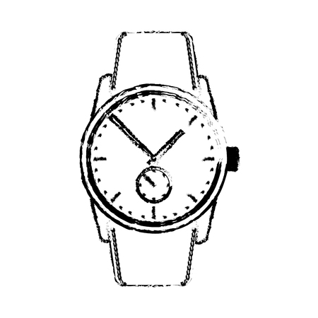 Wrist watch time clock elegance image vector illustration sketch Illustration