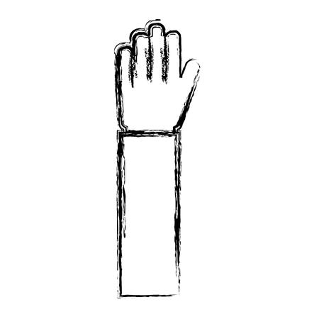 human hand raised open palm gesture vector illustration sketch