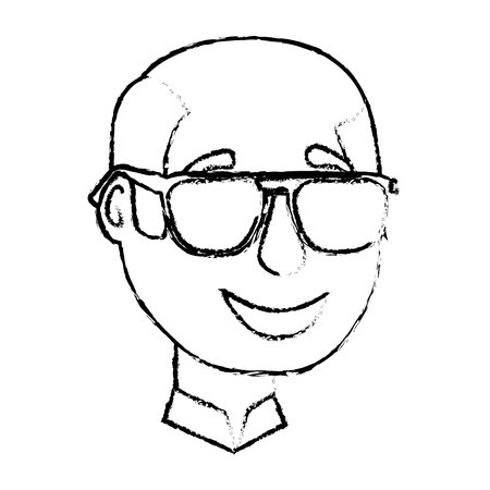 bald man character face with sunglasses vector illustration sketch Illustration