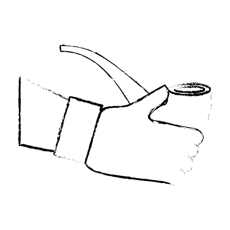 hand holding smoking pipe tobacco vector illustration sketch