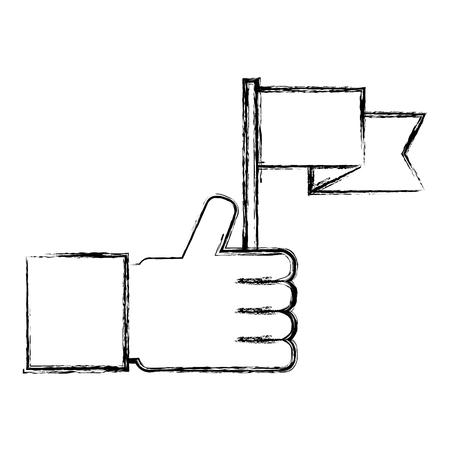 hand holding flag success win image vector illustration sketch