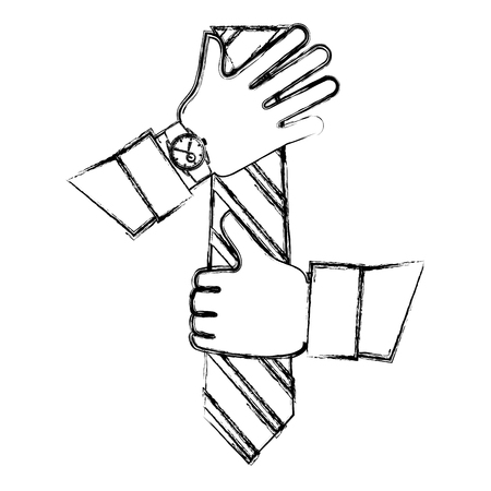 Hands with necktie and wrist watch vector illustration sketch