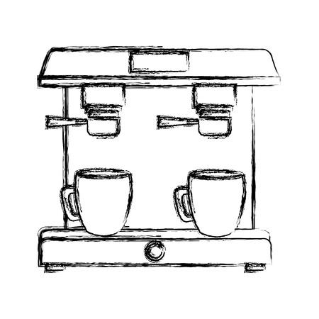 machine coffee maker cups filter vector illustration sketch