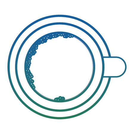 Top view coffee cup on dish icon Illustration