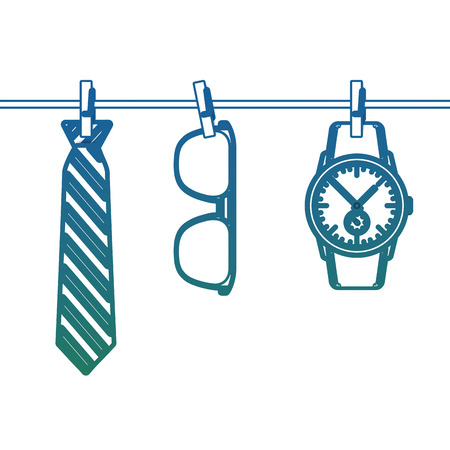 Necktie sunglasses and wrist watch hanging in rope