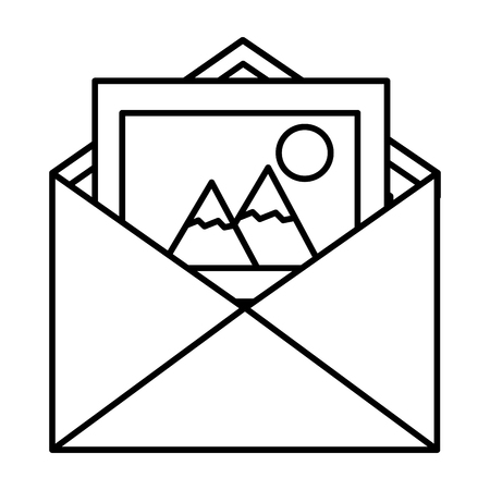 Envelope mail with picture file icon Illustration