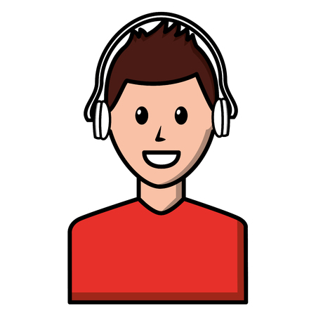Young man with earphones avatar character