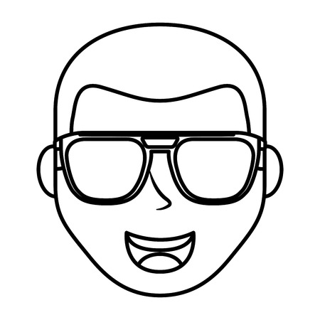 head young man with glasses avatar character vector illustration design Foto de archivo - 99580925