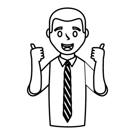 Businessman making OK sign avatar character 일러스트