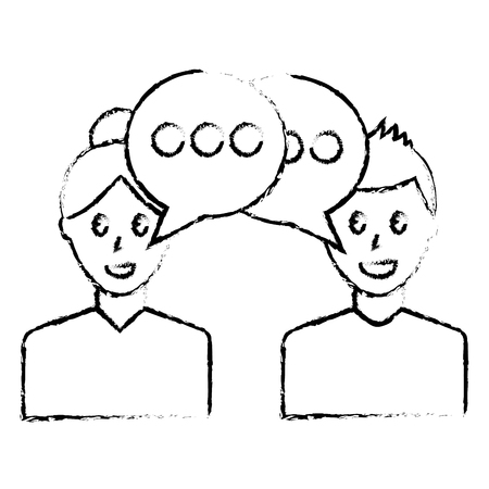 Couple with speech bubbles icon