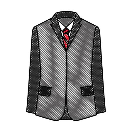 suit shirt necktie elegance fashion formal vector illustration drawing