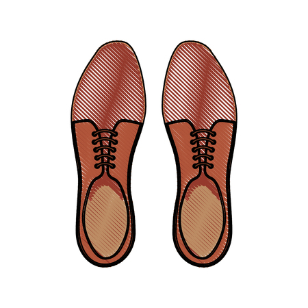brown pair shoes elegant accessory for men vector illustration drawing
