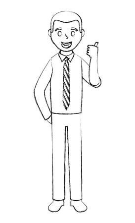 elegant businessman making ok sign avatar character vector illustration design