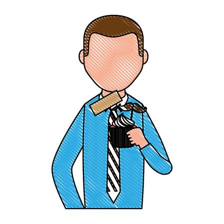 portrait man character holding cupcake vector illustration drawing Illustration