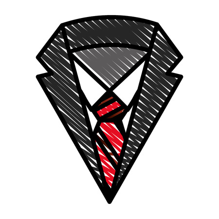 neck suit tie shirt men fashion vector illustration drawing