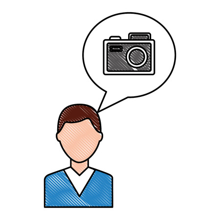young man character and camera in speech bubble vector illustration drawing 일러스트