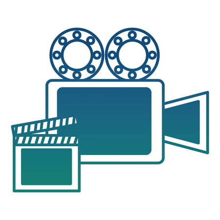 film projector reel and clapper board vector illustration degraded color