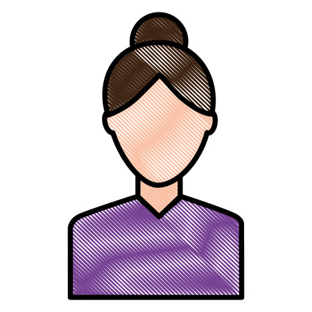 portrait woman female character image vector illustration drawing