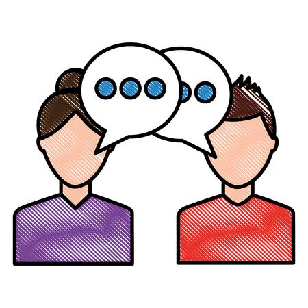 会話を話す2人の男の肖像画スピーチバブルベクトルイラスト画