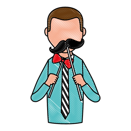 portrait man character holding mustache and bow vector illustration drawing
