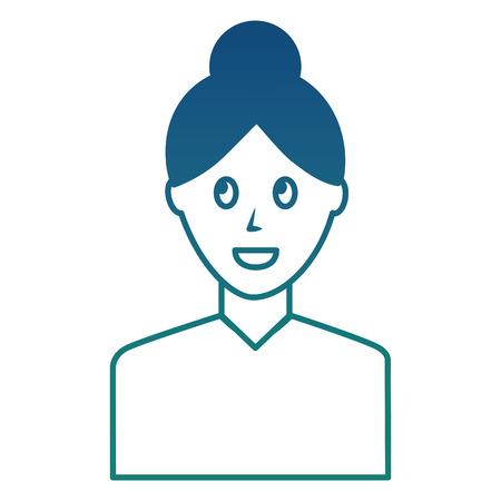 portrait woman female character image vector illustration degraded color Illusztráció