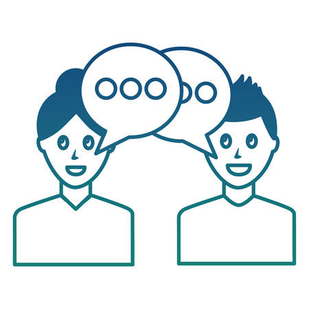portrait two man talking conversation speech bubble vector illustration degraded color Vettoriali