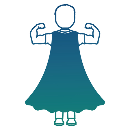 child with a hero cape view from the back vector illustration degraded color