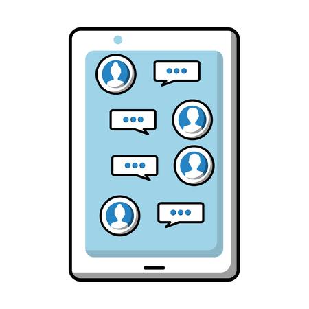 smartphone with chat conversation speech bubble avatar vector illustration Illustration