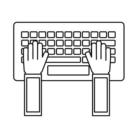 hands typing in keyboard laptop user vector illustration outline