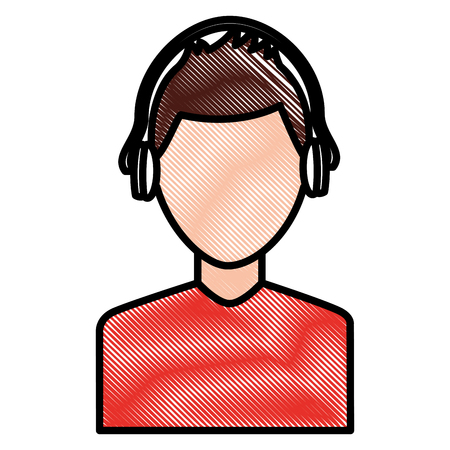 young man character with headphones listen vector illustration