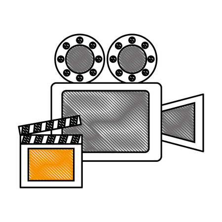 film projector reel and clapper board vector illustration