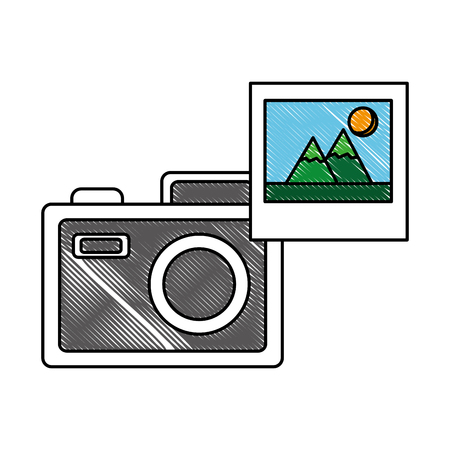 photographic camera picture photo media vector illustration Ilustração