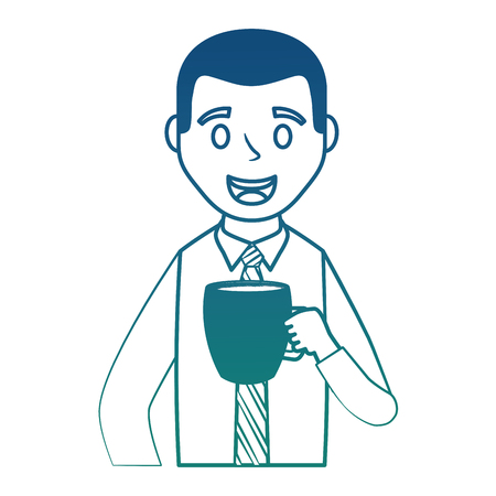 portrait man character with coffee cup vector illustration degraded color Illustration