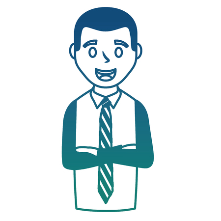 business man portrait with folded arms vector illustration degraded color