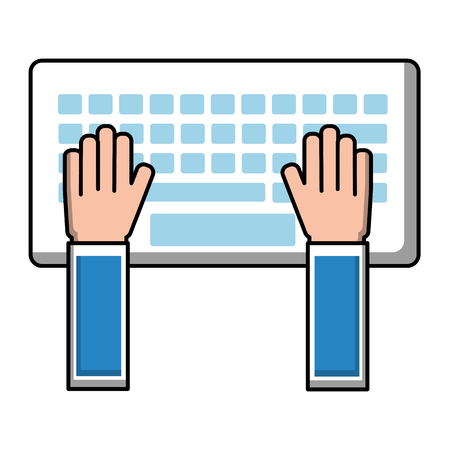 hands typing in keyboard laptop user vector illustration