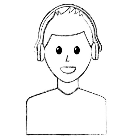 young man character with headphones listen vector illustration sketch