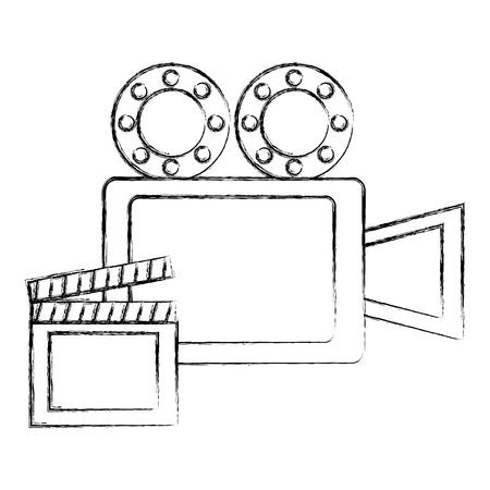 film projector reel and clapper board vector illustration sketch