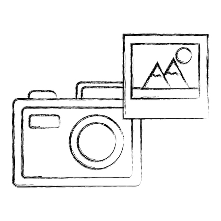 photographic camera picture photo media vector illustration sketch Ilustração