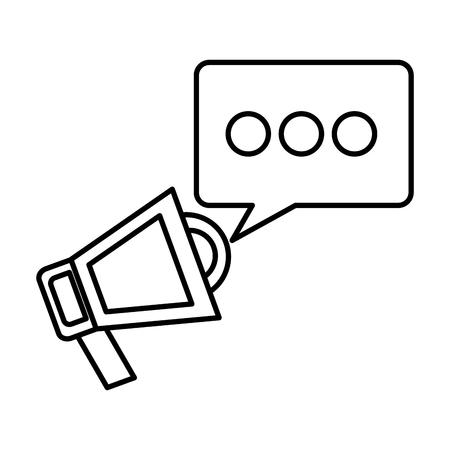 megaphone marketing speech bubble social media vector illustration outline Foto de archivo - 99582797