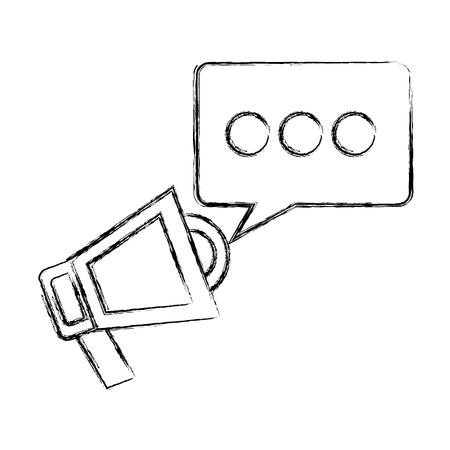 Megaphone with speech bubble vector illustration sketch Foto de archivo - 99582645