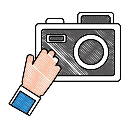 Hand holding a camera icon vector illustration design Çizim