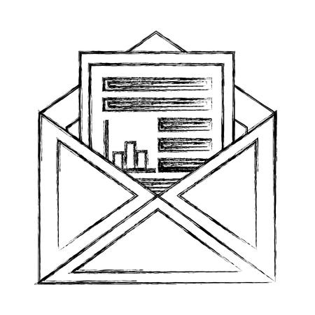 An envelope mail with statistics document vector illustration design Illustration