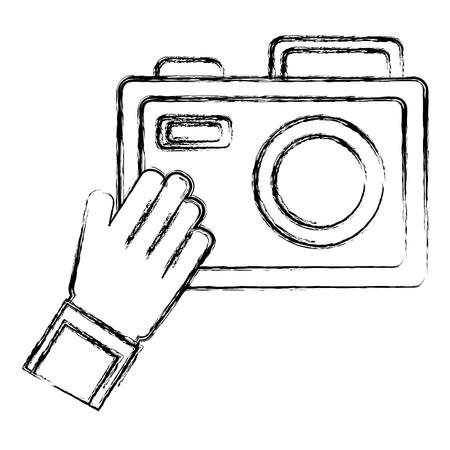 Hand holding camera icon vector illustration design
