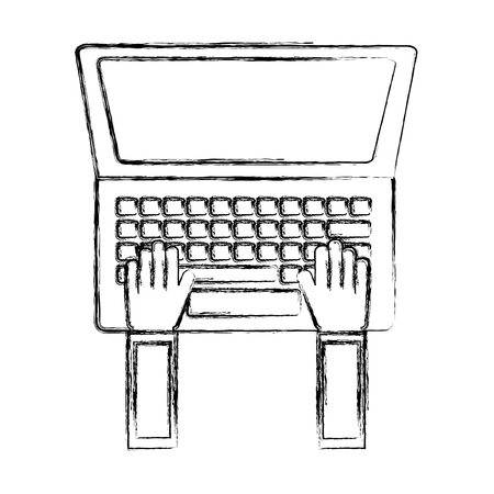 hands typing in keyboard laptop user vector illustration sketch Illustration