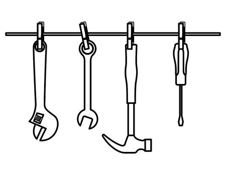 set tools opknoping iconen vector illustratie ontwerp