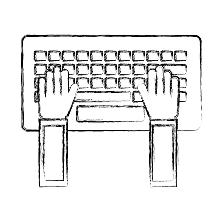hands using keyboard computer vector illustration design
