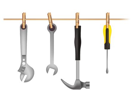 set tools hanging icons vector illustration design Çizim