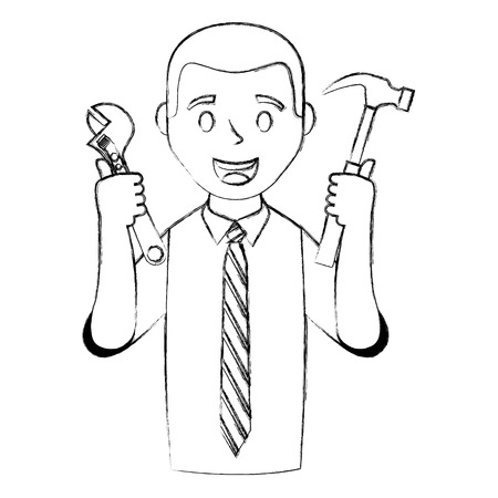businessman with tools avatar character vector illustration design
