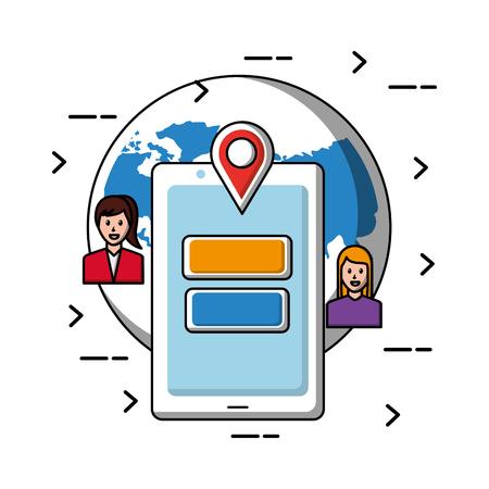world people social media smartphone location vector illustration Illustration